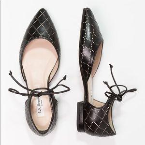 LK Bennett Mikaila lace tie flats leather